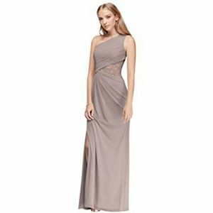 Mauve Formal One Shoulder Gown With Metallic Lace